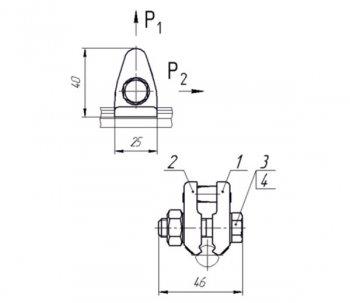 Зажим струновой контактного провода 046-3