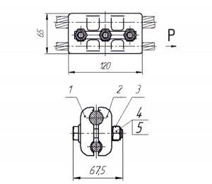 Зажим переходной типа ПАМ 069